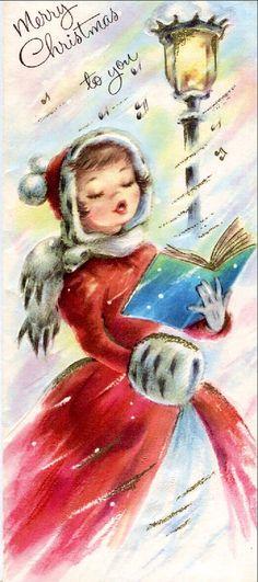 Pretty Christmas caroler sings.: