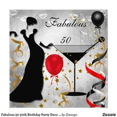 Fabulous 50 50th Birthday Party Deco Lady Red 2 5.25x5.25 Square Paper Invitation Card