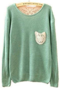 To find out about the Green Long Sleeve Lace Embroidery Pocket Sweater at SHEIN, part of our latest Sweaters ready to shop online today! Shirts & Tops, Lace Embroidery, Look Chic, Mode Style, Autumn Winter Fashion, Fall Winter, Cozy Winter, Fashion Outfits, Womens Fashion