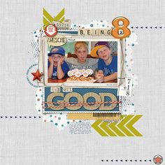 'Being 8 - It's All Good' scrapbook layout using Layerworks No305 from Designer Digitals
