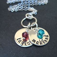 Personalized Necklace - Hand Stamped Jewelry -  Mommy Charms.