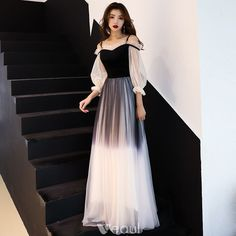 Modern / Fashion Gradient-Color Black Evening Dresses 2019 A-Line / Princess Spaghetti Straps Pleated Sleeves Backless Long Formal Dresses - Evening Dresses Trendy Dresses, Elegant Dresses, Cute Dresses, Beautiful Dresses, Prom Dresses, Formal Dresses, Black Evening Dresses, Evening Gowns, Dress Outfits