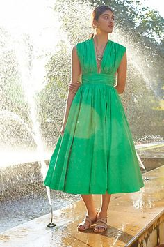 Parted Emerald Dress #anthropologie