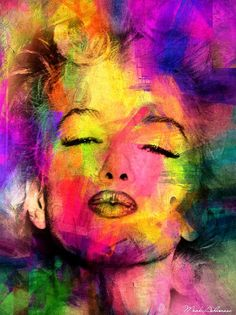This ready to hang, gallery-wrapped art piece features a colorful portrait of Marilyn Monroe. Mark, an Israeli photo artist based in New York, focuses on eclectic media. Mark's portfolio ranges from e
