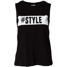Vero Moda Follow Me Tank Top ($20) ❤ liked on Polyvore featuring tops, shirts, tank tops, blusas, black patterned, womens-fashion, graphic shirts, cotton shirts, black singlet and tall shirts