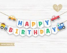 Car Truck & Tren Feliz Banner de Cumpleaños | Etsy Birthday Wall, Race Car Birthday, 1st Birthday Banners, Birthday Diy, Birthday Decorations, Birthday Parties, Happy Birthday Banner Printable, Printable Banner, Name Bunting