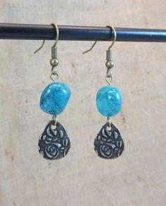 Earrings Women's Earrings Turquoise Antique Brass Dangle