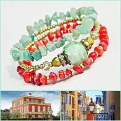 Nizza Lampwork Wrap bracelet Aventurine Coral bracelet Bohemian gemstone bracelet Beach bracelet Green Red Gold Memory wire cuff bracelet (34.00 USD) by MarianneMerceria