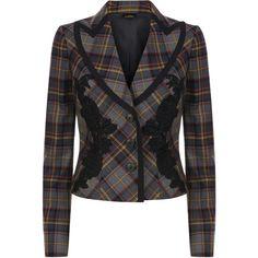 La Perla Daily Looks Grey Cool-Wool Tartan Jacket with Macramé... ($938) ❤ liked on Polyvore featuring la perla