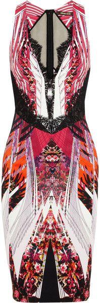 Lace Trimmed Stretch crepe Dress - ROBERTO CAVALLI