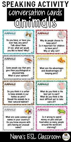 Ignite conversation in your classroom with these engaging conversation starter cards about animal world. A total of 40 cards with one or more questions per card. English Teaching Materials, Learning English For Kids, English Lessons For Kids, English Writing Skills, Teaching English, Learn English, Teaching Spanish, English Lesson Plans, Spanish Grammar