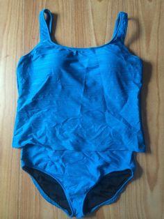 Gottex 16 Tankini Two Piece Swimsuit Teal Blue Padded Shelf Bra