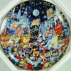 Franklin Mint Cats New Year 2000 Bill Bell Collector Plate Limited Ed Ring In