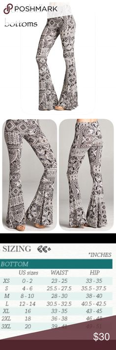 "Printed bell bottoms Printed bell bottom pants with elastic waist.  Black, grey and ivory print.  Very soft to the touch.  Material is rayon and spandex blend.  Inseam is 33"". 🌻no trades 🌻 pricing firm 🌻bundle to save!!! Pants"