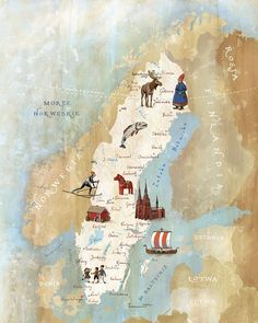 Kapitan Kamikaze - Map of Sweden [want to go to some other northern country besides norway and try the food. had way too much elk meat in norway. is ikea swedish? can I expect good meatballs? Sweden Map, Sweden Travel, Italy Travel, Voyage Suede, Scandinavian Countries, Voyage Europe, Map Design, Vintage Maps, Travel Posters