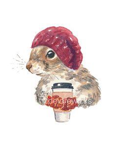 Squirrel PRINT - Watercolor PRINT, Fox Squirrel, Coffee Squirrel, 5x7 Illustration, Cute Squirrel