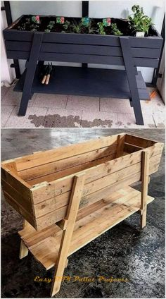 New Projects for Wood Pallet Reusing - Planters - Ideas of Planters - It is the heartiest wish of everyone to have the delicate planter structure at home in which he/she can grow beautiful flowers and fresh plants. But today we are here to Diy Furniture Hacks, Diy Pallet Furniture, Furniture Projects, Painted Furniture, Garden Furniture, Modern Furniture, Rustic Furniture, Diy Projects, Antique Furniture