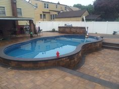 These are the BEST brothers 3 pools bethpage selec Semi Inground Pools, Small Inground Pool, Small Pools, Backyard Pool Landscaping, Backyard Pool Designs, Small Backyard Patio, Backyard Ideas, Patio Ideas, Porch Ideas