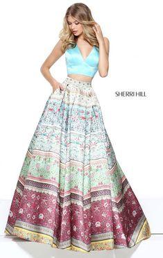 Sherri Hill 50792 Printed Plunging 2017 Open Back Aqua Halter V Neckline Two Piece Long Satin Evening Dresses