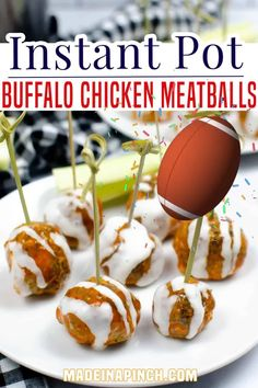Instant Pot Buffalo Chicken Meatballs are SO easy to make and can be served over rice as a main dish, in a sub sandwich, or with toothpicks as a crowd pleasing app. Now more than ever, the ability to whip up a quick but delicious and filling meal is something not to take for granted. | Made in A Pinch @madeinapinch #gamedayfood #superbowlappetizers #superbowlrecipes #easybuffalochickenmeatballs #madeinapinch