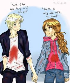 DxH: After the Battle by HazelDragon66 on DeviantArt. Still don't know if I ship this as much as Hermione and Ron but this is still adorable