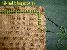 How to keep burlap or linen from fraying (Nun stitch) >> Great for…