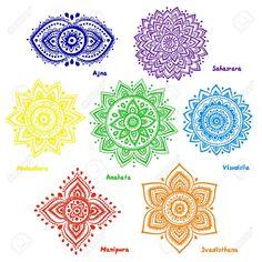 Set of 7 chakras. Isolated set of beautiful ornamental 7 chakras. Mandala Art, Mandala Arm Tattoo, Flower Mandala, Colorful Mandala Tattoo, Mandala Symbols, Indian Mandala, 7 Chakras, Chakra Symbole, Chakra Meanings