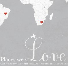 Places We Love World Map Print - Mottled Grey