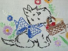 vintage scottie dog tablecloth