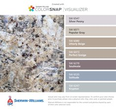 I found these colors with ColorSnap® Visualizer for iPhone by Sherwin-Williams to match the granite countertop in the kitchen: Silver Peony (SW 6547), Popular Gray (SW 6071), Utterly Beige (SW 6080), Perfect Greige (SW 6073), Soulmate (SW 6270), Solitude (SW 6535), Krypton (SW 6247).