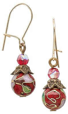 Christmas Ornament Earrings with Cloisonné Beads and Swarovski Crystal Beads by Jamie Smedley. #ornaments #christmasjewelry