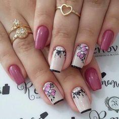 Rose Nail Art, Rose Nails, Flower Nail Art, Gorgeous Nails, Pretty Nails, Sexy Nails, Fall Nail Art, Manicure And Pedicure, Winter Nails