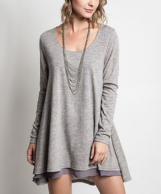 Look what I found on #zulily! Heather Gray Flared Sweater by Elegant Apparel #zulilyfinds