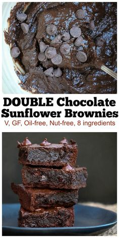 Best Vegan Fudgy Brownies (Gluten Free and Oil Free! These are just 8 ingredients and are vegan, gluten-free, oil - Gluten Free Desserts, Dairy Free Recipes, Vegan Recipes, Dessert Recipes, Vegan Gluten Free Brownies, Dessert Blog, Delicious Recipes, Easy Recipes, Cooking Recipes