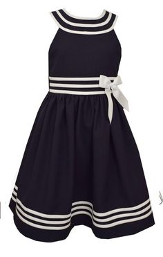 Bonnie Jean Little Girls Nautical Sailor Dress U-Shaped Neck Navy White, Sz 6