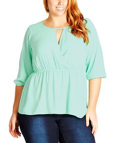 Love this City Chic Mint Wrap Top - Plus by City Chic on #zulily! #zulilyfinds