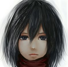 Shingeki no Kyojin | Attack On Titan | Mikasa Ackerman | Kawaii | Cute | Anime | Girl | Black hair
