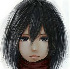 Shingeki no Kyojin | Attack On Titan | Mikasa Ackerman | Kawaii | Cute | Anime | Girl | Black hair