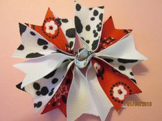 Western, Cowgirl, Cow Print and Red Bandana Boutique Spike Pin Wheel   Hair Bow with Cowboy Hat Button on Etsy, $5.00