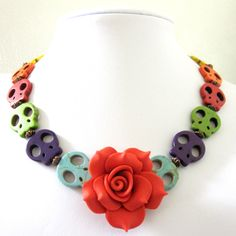 Red Rose Sugar Skull Necklace Day of the Dead Jewelry Rockabilly Jewelry. $27.99, via Etsy.