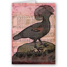 Vintage Crowned Bird Greeting Cards