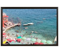 "Life is Like a Movie Set in Capri Framed Print By Rebecca Plotnick, 28x42"", Ridged Distressed Frame, Black, No Mat"