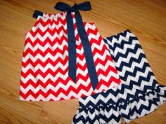 Girls Toddlers Patriotic Chevron Pillowcase top and Ruffled  Shorts Red White  Blue size 2T thru 6girls