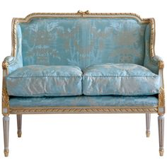 For Sale on - Louis XVI style Canape made by La Maison London. Hand carved in solid wood, painted in an ecru white with gold highlights. Upholstered in a fabric of your Sofa Upholstery, Fabric Sofa, Fabric Decor, Silk Fabric, Louis Xvi, Antique Sofa, Antique Furniture, Italian Sofa, Design Typography