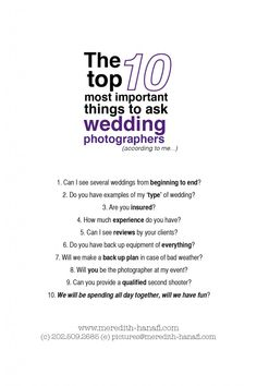 Key questions to ask your wedding photographer before you book it a quality list of questions to ask your prospect wedding photographers junglespirit Gallery