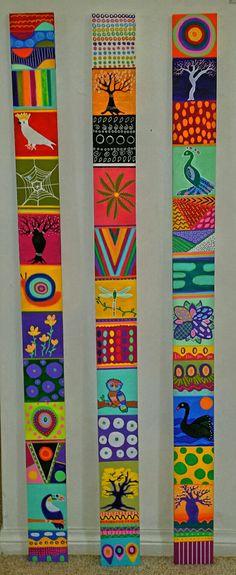 نما کاشی Painted Driftwood, Pole Art, Painted Sticks, Yard Art, African Art, Painting On Wood, Diy Art, Collage Art, Fiber Art