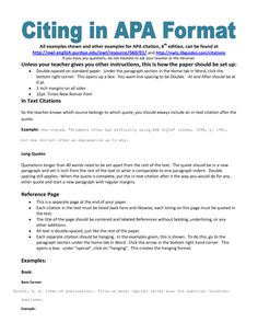 example of apa citation in paper apa citation handout apa reference formatapa essay - Example Of Apa Style Essay