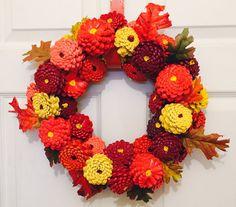 Zinnia Pinecone Wreath, Fall Pinecone Flowers, Autumn Front Door Decor, Fall…