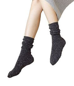 Zando Thick Cotton Athletic Soft Ribbed Classic Wool Crew Uniform Casual Socks Black Grey ** More info could be found at the image url.