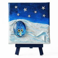 Wish (Kívánság) - 10 x 10 cm (10 x 14 cm), 2018 #paverpol #textile #textil #acrylic #akril #vivienholl #stars #csillagok #owl #bagoly #night #éjszaka Techno, Techno Music
